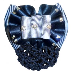 Gestreifte Haarspange mit Haarnetz